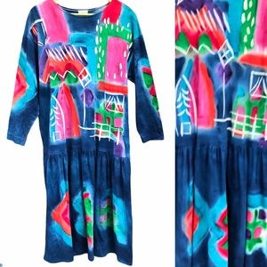 Vintage AHNI Dress XL Art to Wear Hand Painted Drop Waist Bright Abstract